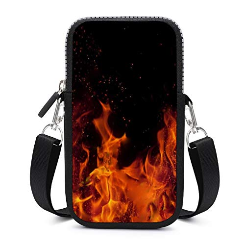 Cellphone Purse Crossbody with Removable Shoulder Strap Burning Fires Sweat-Proof Pouch Case for Money Waist Wallet Gym Fitness Bags Unisex