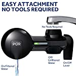 PUR PFM100B Faucet Water Filtration System, Horizontal, Black 11 PUR ADVANCED FAUCET WATER FILTER:PUR Advanced Faucet Filter in Chrome attaches to your sink faucet, for easy, quick access to cleaner, great-tasting filtered water. A CleanSensor Monitor displays filter status, so you know when it needs replacement. Dimensions: 6.75 W x 2.875 H x 5.25 L FAUCET WATER FILTER: PUR's MineralClear faucet filters are certified to reduce over 70 contaminants, including 99% of lead, so you know you're drinking cleaner, great-tasting water. They provide 100 gallons of filtered water, or 2-3 months of typical use WHY FILTER WATER? Home tap water may look clean, but may contain potentially harmful pollutants & contaminants picked up on its journey through old pipes. PUR water filters, faucet filtration systems & water filter pitchers reduce these contaminants