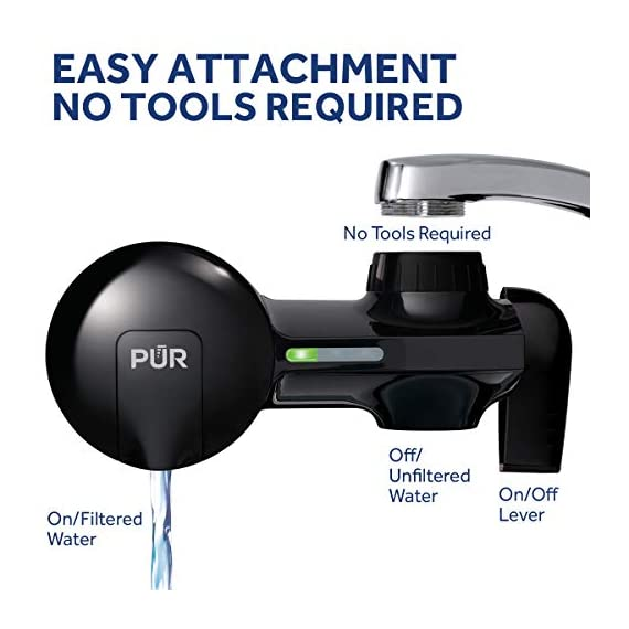 PUR PFM100B Faucet Water Filtration System, Horizontal, Black 3 PUR ADVANCED FAUCET WATER FILTER:PUR Advanced Faucet Filter in Chrome attaches to your sink faucet, for easy, quick access to cleaner, great-tasting filtered water. A CleanSensor Monitor displays filter status, so you know when it needs replacement. Dimensions: 6.75 W x 2.875 H x 5.25 L FAUCET WATER FILTER: PUR's MineralClear faucet filters are certified to reduce over 70 contaminants, including 99% of lead, so you know you're drinking cleaner, great-tasting water. They provide 100 gallons of filtered water, or 2-3 months of typical use WHY FILTER WATER? Home tap water may look clean, but may contain potentially harmful pollutants & contaminants picked up on its journey through old pipes. PUR water filters, faucet filtration systems & water filter pitchers reduce these contaminants