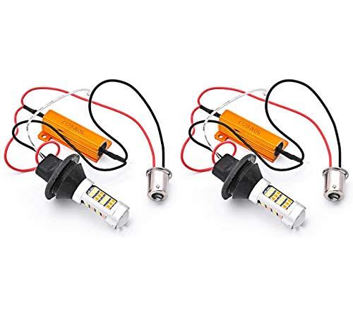 KATUR BAU15S 7507 PY21W 1056 5009 Blanc/Ambre Switchback LED Feu Clignotant Canbus sans Erreur 2835 42SMD 800Lumens 12V LED avec Résistances de Charge 50W 6ohm (Lot de 2)