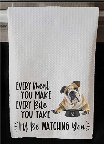 The Creating Studio Personalized English Bulldog Every Meal You Make Every Bite You Take I'll Be Watching You Waffle Kitchen Towel 16'x24' (English Bulldog No Name)