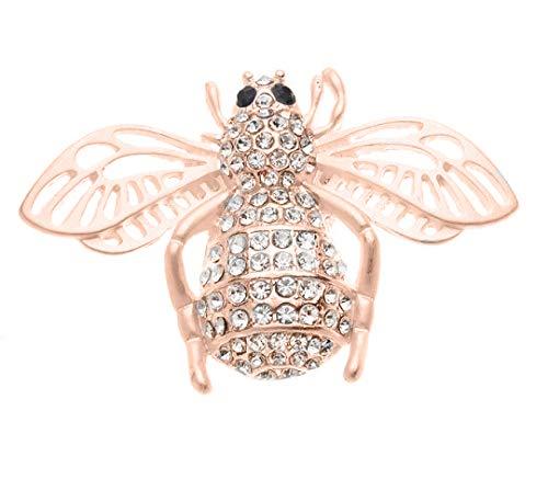 reend24 Damen Magnet Brosche König Biene Rosegold Strass Schal Clip Bekleidung Magnetbrosche Poncho Taschen Stifel Textilschmuck Eule Herz stern