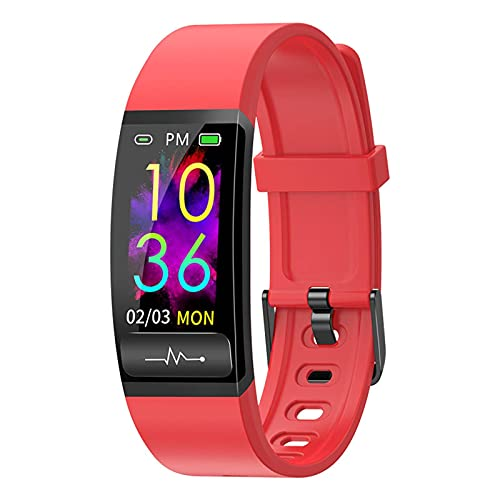 HJYBYJ MU8S Smart Band Watch Monitor De Frecuencia Cardíaca PPG Pulsera Inteligente Presión Arterial Tthemómetro Smart Clock Pulsera (Color : Red)