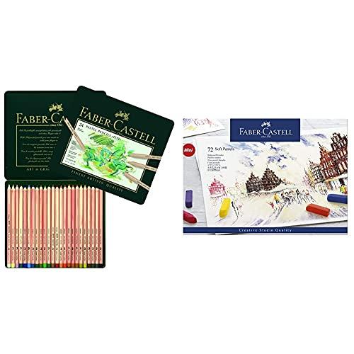Faber-Castell 112124 Estuche de metal con 24 ecolápices Pitt pastel, multicolor + 128272 Estuche de cartón con 72 tizas pastel, mini, multicolor