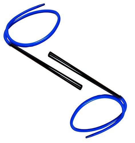 2x Bayli 1,9m Soft Touch Shisha Silikonschlauch mit Mundstück + Adapter für Hookah | Ersatzschlauch für Wasserpfeife | Farbe [Blau] | Schlauch Set mit Mundstück und Endstück für alle Shishas | Zubehör