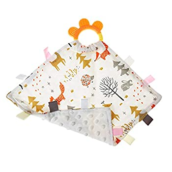 AmazingM Cute Baby Security Blanket with Tags,Teether,Soft,Soothing Comfortable,Dotted Backing Taggy Blanket for Boys and Girls  Fox