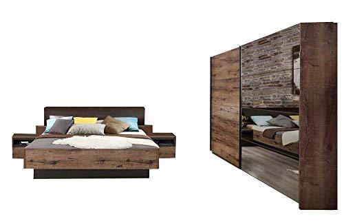 möbel-direkt Schlafzimmer Jacky in Schlammeiche und Schwarzeiche von Forte 4 teilig mit Schwebetürenschrank mit Einer Spiegeltür, Doppelbett mit gepolstertem Bettkopfteil und Zwei Nachtschränken