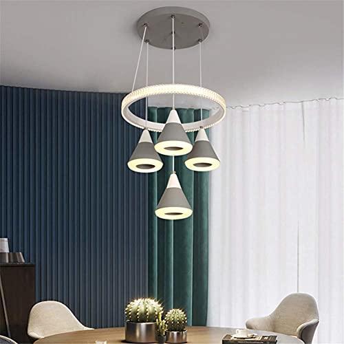 FGVBC Candelabro Creativo LED, Nuevo candelabro de Restaurante con Regulable en 3 Colores Consiste en 1 lámpara Colgante de Anillo y 4 lámparas Colgantes para Barra de Comedor de Cocina, D, 220 V