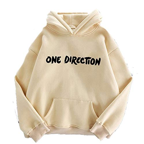 One Direction Brief Druck Sweatshirt Frauen Kleidung Übergröße Hoodies New Harry Styles Grafik Harajuku Pullover Streetwear Gr. XL, Khak