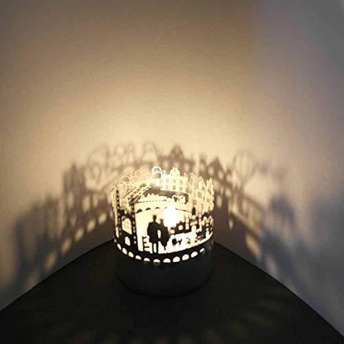 13gramm Cambridge-Skyline Windlicht Schattenspiel Souvenir, 3D Edelstahl Aufsatz für Kerze inkl. Karte