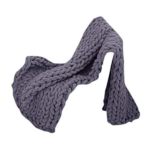 Buy Bargain Kiarsan Handmade Coarse Wool Woven Blanket Chenille Knitted Blanket Sofa Blanket