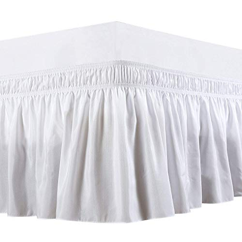 Wrap Around Bed Skirt - 100% Microfiber Elastic Dust Ruffle - Twin/Twin XL Size with 14' Inches Drop, White - 3 Sided Silky Soft and Classic Style Look in Your Bedroom