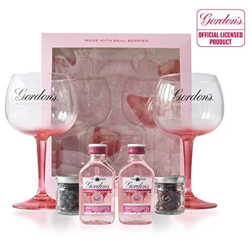 Gordon's Premium Pink Gin Tonic Geschenkset | Gin Set inkl. 2 x Offical Gordon's Pink Gin Ballon Gin Gläser, 2 x Aromatischen Botanicals + 2 x 5cl Gordon's Premium Pink Gin Miniflaschen