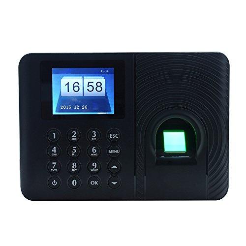KKmoon Biométrico de Asistencia Máquina,Registrador de Cheques del Empleado, Pantalla de 2.4 Pulgadas TFT LCD,Negro
