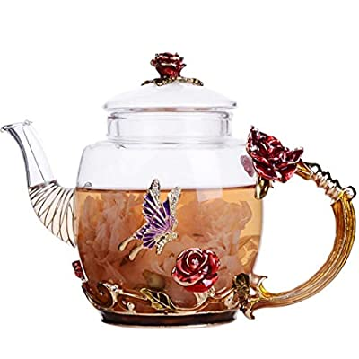 Flower Glass Tea Pot Clear Glass Teapot with Strainer for Loose Tea, Flower Tea Kettle with Floral Decoration Teapot (Red)