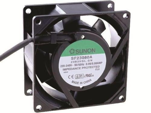 SUNON SF23080A/2083HSL.GN AC Fan Sleeve, 220 Volt, 30 CFM, 12' Leads, UL/CSA/TUV, 80 mm L x 80 mm W x 38 mm H