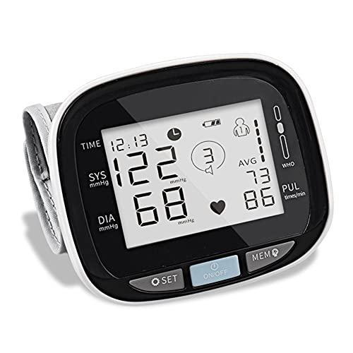 QIU Monitor de presión Arterial, Pantalla de muñeca Ajustable Monitor de la presión de la muñeca Digital, y la función de Memoria de lecturas 2x99 para Uso en el hogar, con Pantalla LCD Grande
