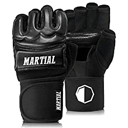 MMA gloves professional by Martial - professional quality - high quality construction - boxing, training, sandbag, punching bag, freefight, grappling, martial arts - black - boxing gloves