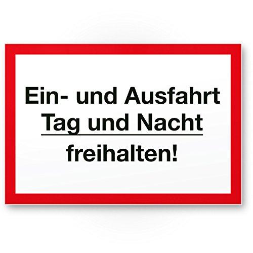 Ein- / Ausfahrt Tag- / Nacht Freihalten Kunststoff Schild (30 x 20cm), Hinweisschild Einfahrt - auch gegenüber, Parken verboten - Parkverbot, Halteverbot