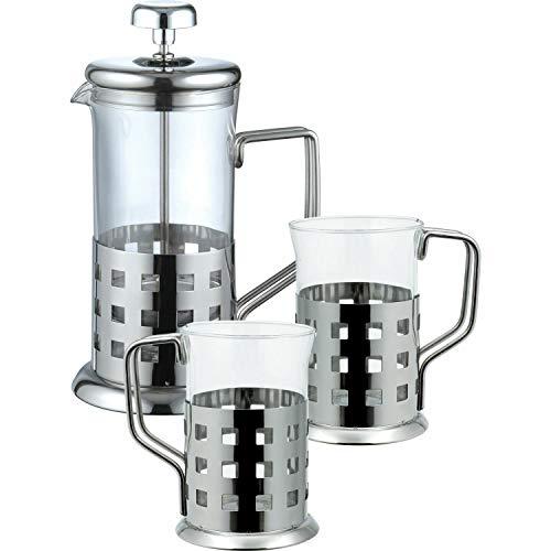 Acero inoxidable 350 ml cafetera de émbolo con{2} tazas tetera China tazas de café