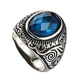 PAMTIER Anillo Retro Vintage De Acero Inoxidable Plateado Para Hombre Sortija Céltico Con Piedra Redonda Azul 17
