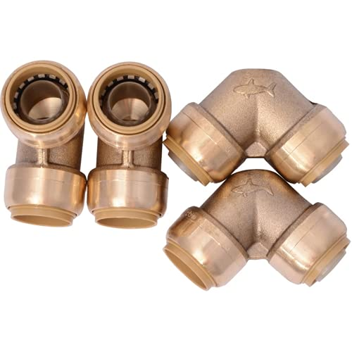 SharkBite U256LFA4 90 Degree Elbow Plumbing Pipe Connector 3/4 in, PEX Fittings, Push-to-Connect, Copper, CPVC, 3/4 inch, 4 count, Brass