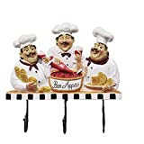 Yxxc Perchero Compacto y apilable Ganchos para Abrigos Cute Flat Chef Multifuncional Ganchos para Toallas de Pared Horno/Sombrero/Gorra/Abrigo/Dela