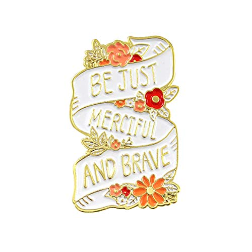 Brooch Pins, English Letter Be Just Merciful and Brave Badge Collar Brooch Pin Clothes Decor - Multicolor