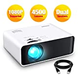 """Projector, GooDee Mini Projector LED 1080 Full HD Supported Video Projector, 200"""" Display"""