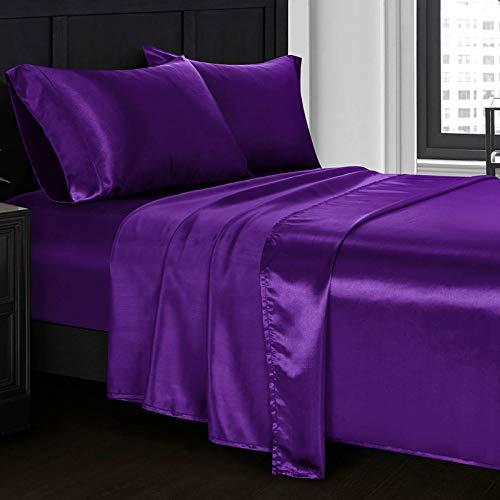 Homiest 3pcs Satin Sheets Set Luxury Silky Satin Bedding Set with Deep Pocket, 1 Fitted Sheet + 1 Flat Sheet + 1 Pillowcase (Twin Size, Purple)