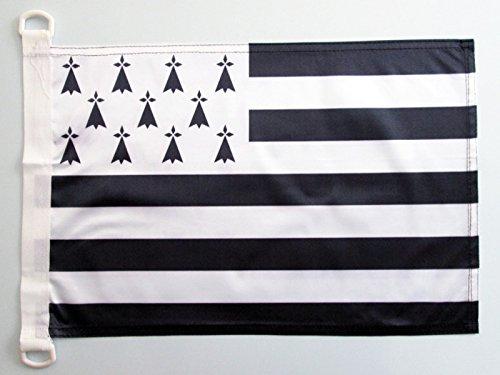 AZ FLAG Bandera Nautica de BRETAÑA 45x30cm - Pabellón de conveniencia DE Bretagne - Francia 30 x 45 cm Anillos