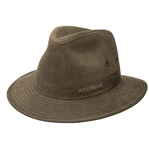 Stetson Sombrero Anti UV Stampton Traveller Hombre - de Verano Sol Tela Primavera/Verano - XL (60-61 cm) marrón