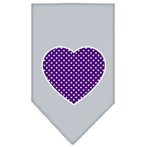 Mirage Pet Products Halstuch für Haustiere, violett, Schweizer Punkte, Herz, Siebdruck, Größe S, Grau