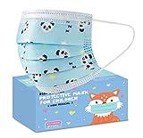 50 Piezas cubreboca para niños, plisado, triple capa, termo sellado, desechables, con estampado infantil (Panditas Azul)