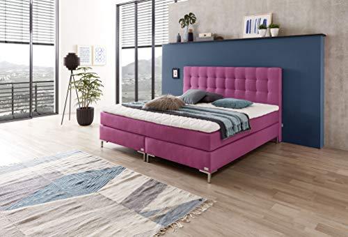Boxspringbedtenshop24.de - Boxspring Bed WELCON Rockstar - Luxe boxspringbed 180x200 hardheid H3 in roze roze incl. topper - gunstig van de fabrikant - extra hoog design hoofdeinde - meer dan 1000 veren