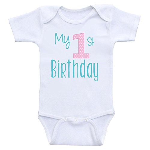 Heart Co Designs 1st Birthday Baby Clothes My First Birthday Onesies for Babies (12mo-Short Sleeve, Teal & Light Pink Text)