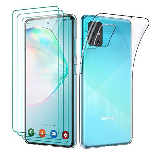 Oududianzi - Cover per Samsung Galaxy A51 (2020) + [3X Pellicola Protettiva in Vetro Temperato], Custodia Morbida Chiaro Sottile Case in Silicone Gel TPU - Trasparente