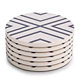 LIFVER Coasters for Drinks, Grey-line Style Absorbent Stone Coaster Set with Cork Base, Housewarming Gift for Home Decor, Set of 6