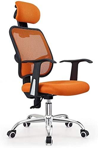 Silla de oficina ergonómica de respaldo alto con respaldo alto, silla de escritorio de malla con reposacabezas ajustable y soporte para el cuello, silla de tareas para ordenador (color: naranja)
