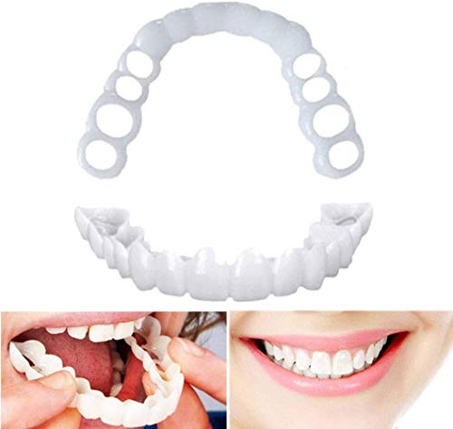 Veneers Teeth Temporary False Teeth Upper Lower Fake Tooth Cover Perfect Smile Fit One Size Fits Most Comfortable Denture,to Make White Tooth Beautiful Neat