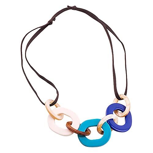 SWAOOS Collar de Cuero de Cuerda Larga con Colgante de acrílico de Resina, Collares de declaración de Moda, joyería para Mujeres