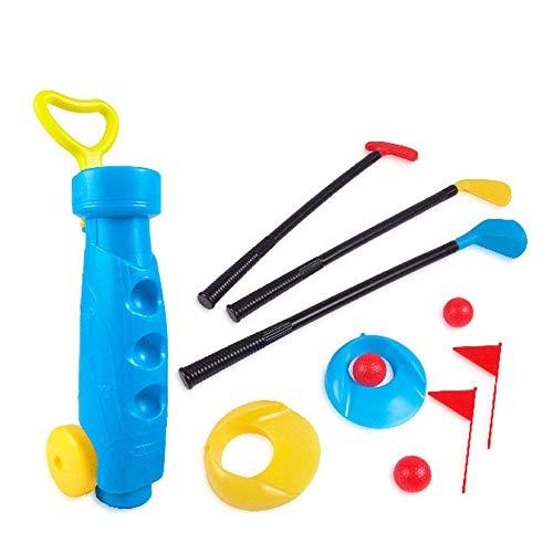 Liuxiaomiao Golfspiel-Set für Kleinkinder, Golfschläger-Set, Sport-Spielzeug, Geschenk für Jungen, Mädchen, Geburtstagsgeschenk für Kinder, drinnen und draußen, Plastik, blau, Free Size