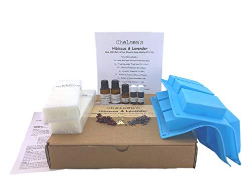 Hibiscus and Lavender Goat Milk Glycerin Soap Making Kit (2lb)