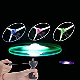 Anniston Kids Toys, LED Light up Spinning Flying Disc Saucer Pull String Kids Toy Party Supplies Classic Toys for Baby Children Toddlers Boys & Girls, Random Color