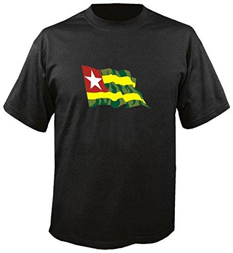 T-Shirt für Fußball LS178 Ländershirt L Mehrfarbig Togo - Togo mit Fahne/Flagge - Fanshirt - Fasching - Geschenk - Fasching - Sportshirt schwarz