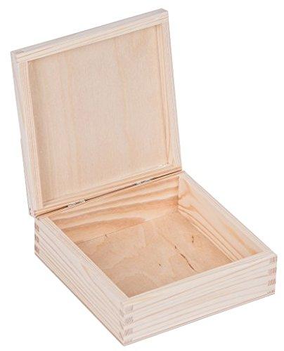 Holzkiste mit Deckel Allzweckkiste - Holzschachtel Holzbox aufbewahrungsbox Holzkisten Aufbewahrungskiste Holz Schachtel 16 x 16 x 6 cm