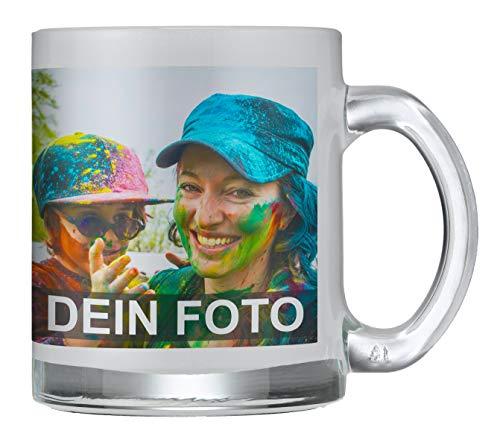 Tasse aus satiniertem Glas mit persönlichem Foto zum selbst gestalten (hochwertiges Milchglas, mit personalisierbarem Foto, spülmaschinenfest, individuell gestalten, Fotogeschenk)