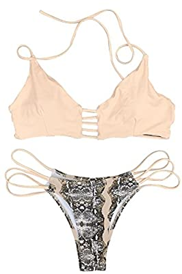 CUPSHE Women's Apricot Push Up Halter Bikini Set