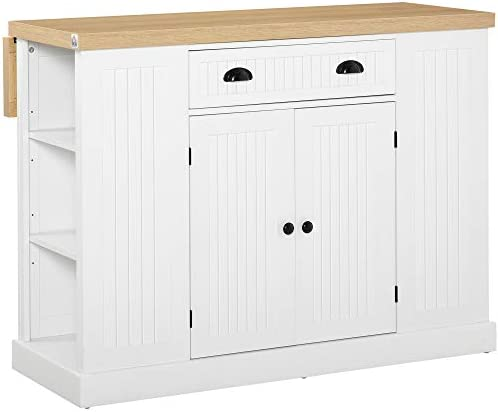HOMCOM Fluted Style Wooden Kitchen Island Cabinet with Drop Leaf Drawer Open Shelving and Interior product image