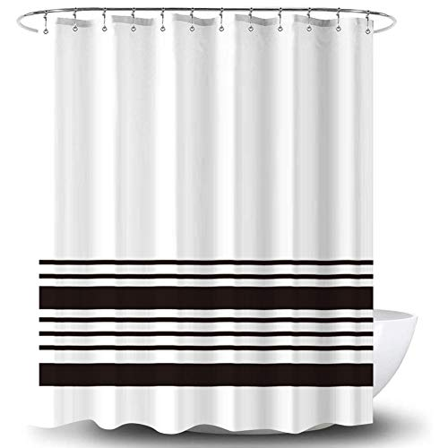 WF WU FANG Shower Curtain Set, Black Stripe Polyester Fabric Shower Curtains with Rings, Decorative Shower Curtains for Bathroom Hotel Quality, 72 X 72 Inches